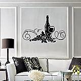 HGFDHG Calcomanía de Pared de Vino Restaurante Cocina Bar Elegante decoración de Interiores calcomanía Vinilo Pared Pegatina UVA Taza Arte Mural