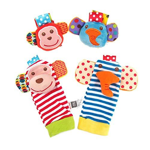 Infant Animal Wrist Band Wrist Bell Calcetines de peluche Monkey Elephant Pattern Antideslizante Transpirable Rsonajero Calcetines