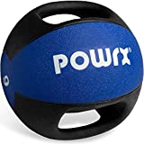 POWRX Balón Medicinal con Asas 9 kg - Ideal para Ejercicios de »Functional Fitness«, fortalecimiento Muscular y rehabilitación + PDF Workout (BLU)
