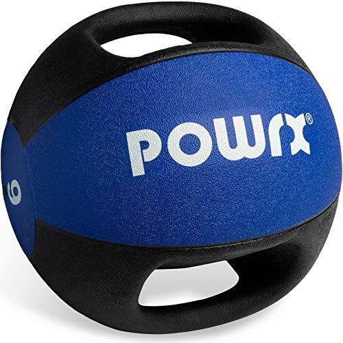 POWRX Palla Medica con Maniglie 9 kg - Ideale per Esercizi di »Functional Fitness«, potenziamento Muscolare e Riabilitazione + PDF Workout (Blu)