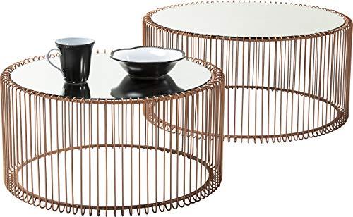 Kare Design Couchtisch Wire Copper 2er Set, runder, moderner Glastisch, großer Beistelltisch, Kaffeetisch, Nachttisch, Kupfer (H/B/T) 30,5xØ60cm & 33,5xØ69,5cm