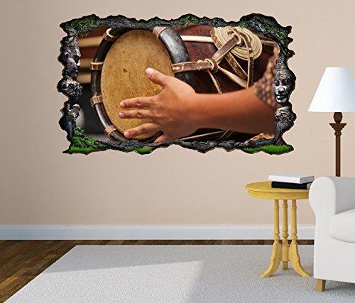 3D Wandtattoo Thai Trommel Musik Kunst Schlagzeug selbstklebend Wandbild Tattoo Wohnzimmer Wand Aufkleber 11M129, Wandbild Größe F:ca. 97cmx57cm