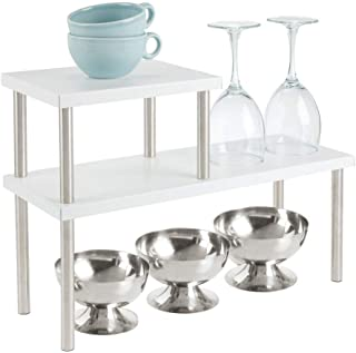 mDesign Modern Metal 3-Tier Kitchen Countertop and Pantry Cabinet Storage Shelf Organizer Stand for Storing Mugs, Bowls, Spices, Baking Supplies - Free Standing, 2 Shelves - Matte White/Brushed