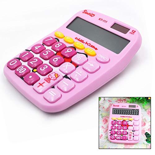 Xrten Kinder Taschenrechner,Standard Tischrechner 12 Ziffern Taschenrechner für Schule Büro(Rosa)