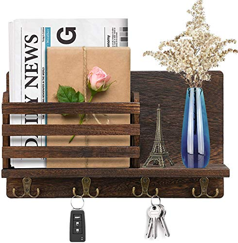Wandregal Holz für Schlüsselbrett Organizer mit 4 Haken, Bücherregal Holz für Wanddeko Kinderzimmer, Zeitschriftenhalter Schlüsselbrett Briefablage Zeitungsständer Holz für Schlüsseln Prospekten