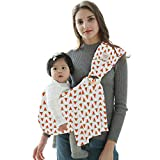 POLKA TOTS Baby Ring Sling Carrier Wrap, Soft Lightweight Cotton Pink (Watermelon Print)
