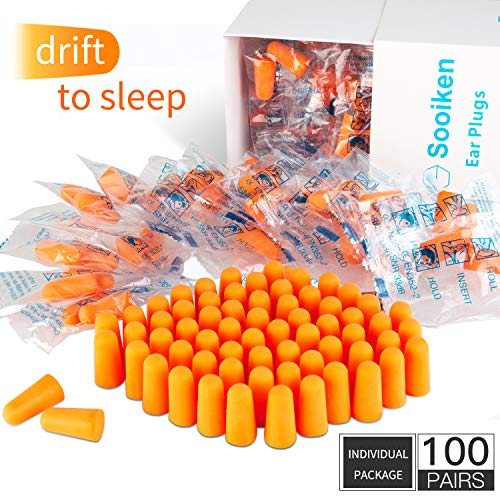 Foam Ear Plugs,Ear Plugs Noise Reduction - 33dB SNR Super Soft Foam Ear Plugs for Sleeping, Woodworking, Shooting, Travel, Concert, Snoring, Loud Events Orange Ear Plugs (100 Pairs Individual Package