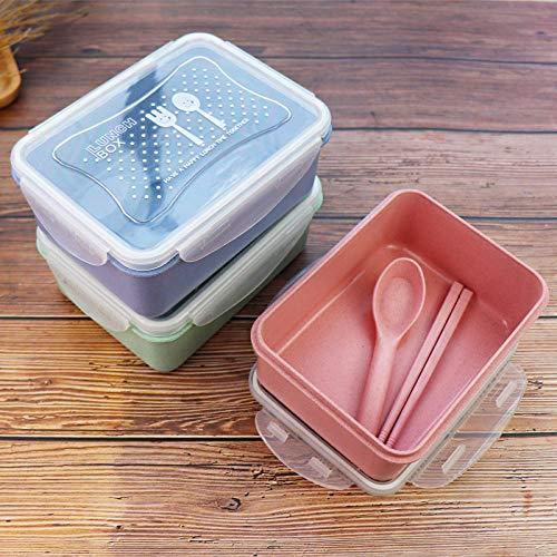 Generic Weizenstroh Student Bento Box Set Kühlschrank Obst Aufbewahrungsbox Rechteckig @ 1-2L_Green + Essstäbchen Löffel