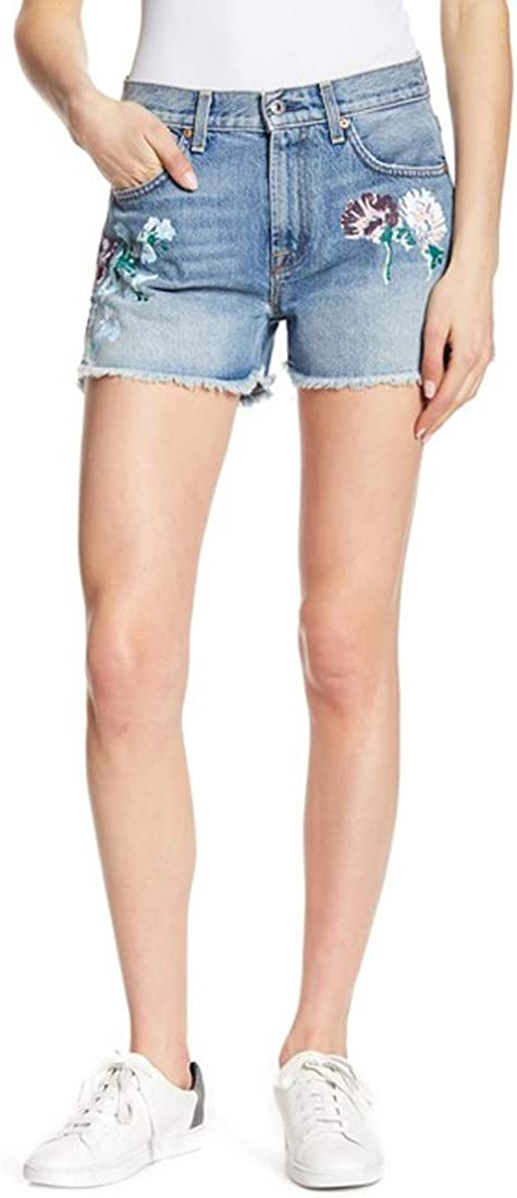 7 For All Mankind Hand Painted Cutoff Denim Shorts, Blue, 24