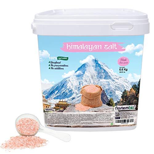 Nortembio Sal Rosa del Himalaya 6,6 Kg Fina (1-2 mm). 100% Natural. Sin Refinar. Sin Conservantes. Extraída a Mano.
