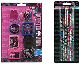 Monster High 8pk Shaped Erasers and 6pk Wood pencil with color ferrel on Blister Card