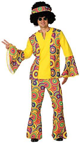 O7329-48-50 - Disfraz de hippie para hombre, talla 48-50