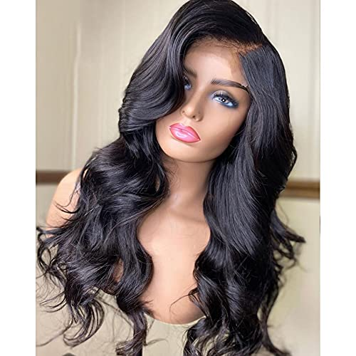 RuiYu Loose Wave Fake Scalp Top Lace Front Human Hair Wigs 180% Remy Brazilian Glueless 5x5 Silk Base Wigs Natural Color(18 inche)