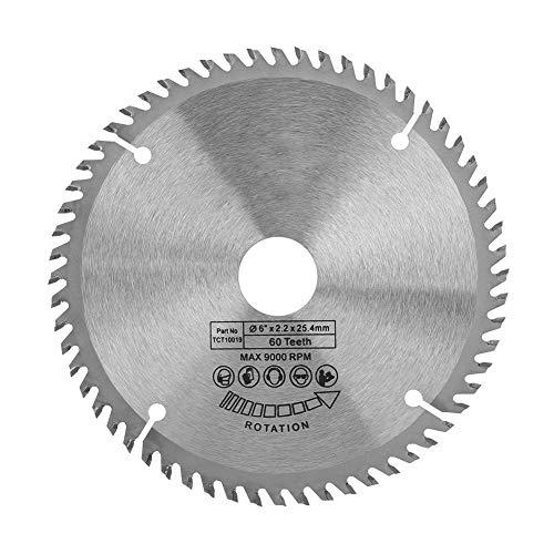 """Hoja de sierra circular, 6 """"(148mm) 60 dientes de plata Disco de corte Aleación Hoja de sierra de carburo para cortar acero, aluminio, hierro, metales no ferrosos, plástico de madera"""