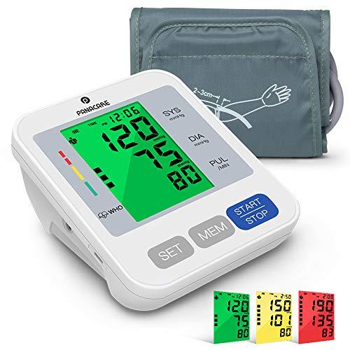 Panacare Vollautomatisch Oberarm Blutdruckmessgeräte, 3-Farbiges Großes Display mit Hintergrundbeleuchtung, BP-Maschinenmessgerät Oberarmumfänge von 22-42 cm, automatische Blutdruckmonitor, 2 Users