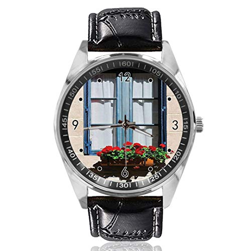 Fensterläden Armbanduhr Custom Design Analog Quarz Uhr Silber Zifferblatt Klassisches Lederband Damen Herren Armbanduhr