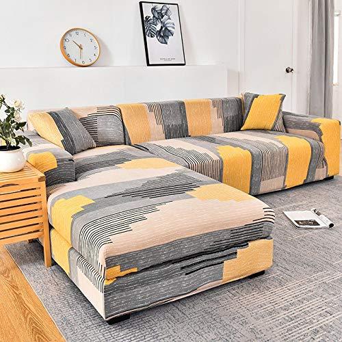 WXQY Funda de sofá elástica geométrica para Sala de Estar, Funda de sofá en Forma de L Necesita Pedir 2 Juegos, Funda de sofá Todo Incluido A4 1 Plaza