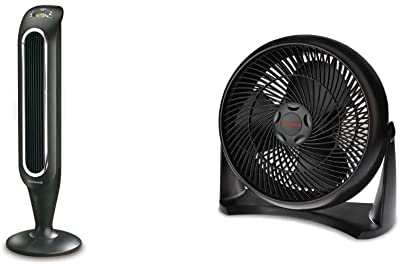 Honeywell Fresh Breeze Tower Fan with Remote Control HYF048 Black With Programmable Thermostat, Timer Shut-Off Function & Dust Filter & HT-908 TurboForce Room Air Circulator Fan, Medium, Black