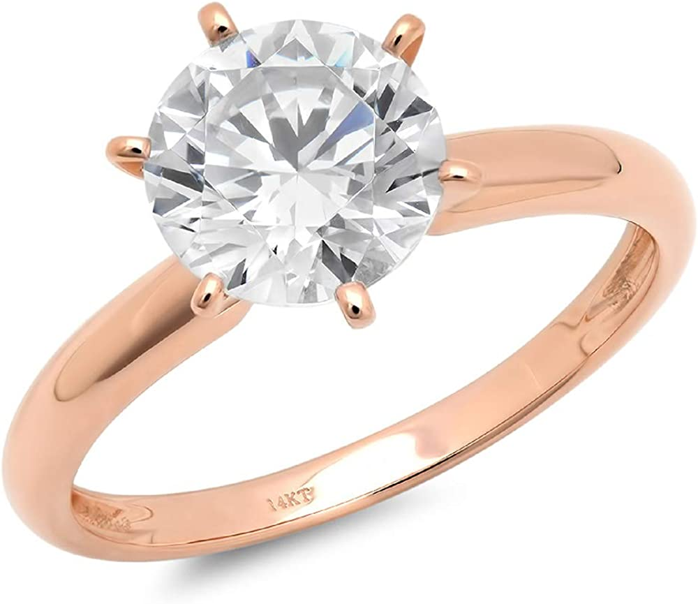 2.0 ct Brilliant Round Cut Solitaire Genuine Moissanite Flawless Ideal VVS1 D 6-Prong Engagement Wedding Bridal Promise Anniversary Ring in Solid 14k rose Gold for Women