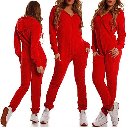 Crazy Age Damen Jumpsuit aus Samt (Rot) - 4