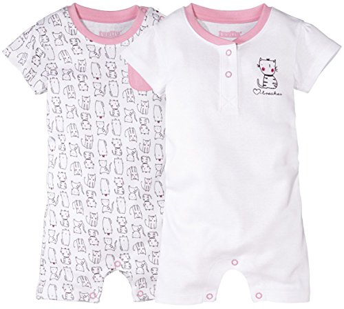 lupilu® 2 Mädchen Baby-Schlafanzüge, kurz (weiß, rosa - Kätzchen, Gr. 50/56)