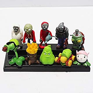 PKRISD 10Pcs/Set PVZ Plant Vs Zombie Squash Gatling Pea Cattail Cob Cannon Zombie Yeti Dolphin Pider Zombie Toy for Kids Must-Have 5 Year Old Girl Gifts The Favourite DVD Superhero Decorations