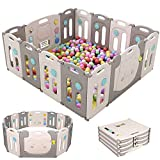 Baby Playpen Foldable 14 Panel Fence Activity Center Safety Playard with Lock Door,Kid's Fence Indoor Outdoor,Double Layer Clasp for Children,Grey White