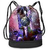 ewtretr Sacs à Cordon,Sac à Dos Drawstring Bag Galactic Dog Moon Shoulder Bags Travel Sport Gym...
