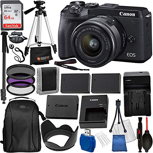 Canon EOS M6 Mark II Mirrorless Digital Camera with 15-45mm Lens and EVF-DC2 Viewfinder (3611C011) and 17PC Professional Accessory Bundle – Includes + SanDisk Ultra 64GB SDXC Memory Card + Carrying Ca