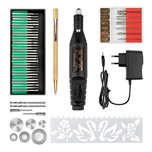 SuMile Grabador eléctrico para tallar cristal, madera, metal, piedra, plástico, cerámica, con...