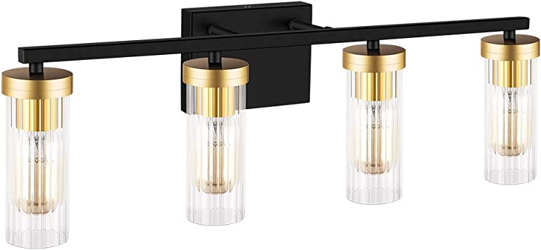 Amazon Com Bdl Bathroom Vanity Light Fixtures 2020 New Black Gold 4 Lights Clear Glass Shade Modern Wall Bar Sconce Over Mirror Exclude Bulb Everything Else