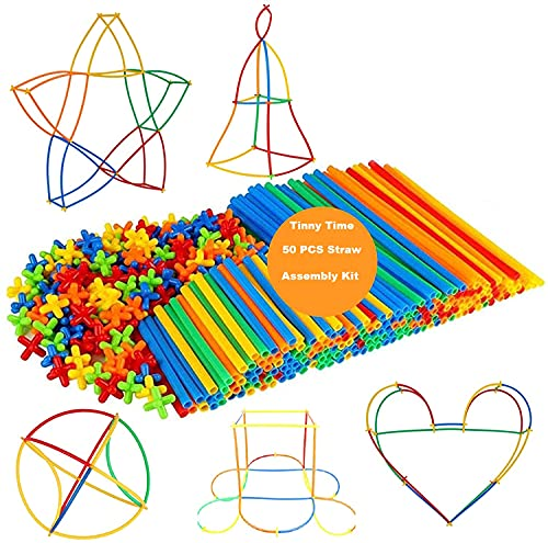 Tinny Time Straw Constructor Building Toys Blocks, 100 Pcs Sturdier Colorful Interlocking Engineering Learning Kit For 4 5 6 7 8 9 10 Year Old Boys Girls, Educational Toys Activities, Nice Gift For Kid(100 PCS STRAW ASSEMBLY KIT)