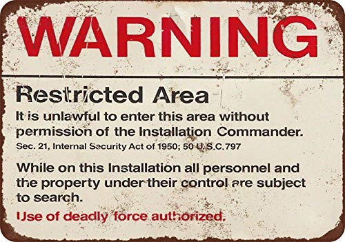 Keviewly Ranch Metal Signs Vintage Yard Decor Art Tin Sign 8 x 12 Retro Warning Restricted Military Area 51 Vintage Look Basement