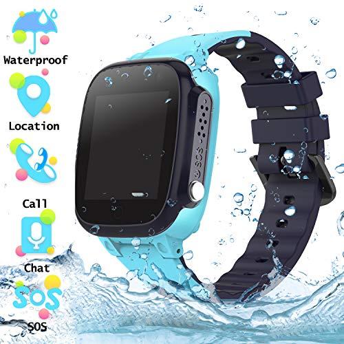 Wasserdichtes Student Kinder Smartwatch Telefon - Touchscreen Kinder Smartwatch mit Anruf Sprachnachricht SOS Taschenlampe Digitalkamera Wecker, Geschenk für Kinder Junge Mädchen Student (S2 - Blue)