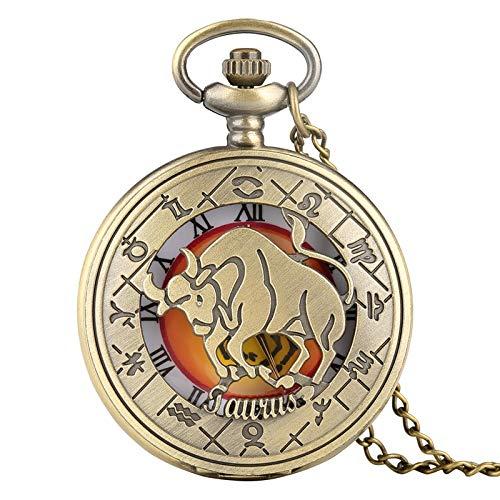 WOAIXI Retro Taschenuhr,Retro Sternzeichen Muster Tasche Uhr Moderne Halskette Kette Kupfer Zwölf Konstellation Stier Anhänger Geburtstagsuhr Für Männer Frauen Geschenke