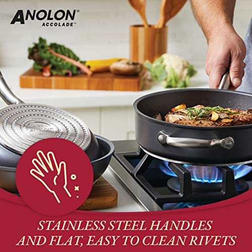 Anolon Accolade Hard-Anodized Precision Forge Cookware Set with Glass Lids, 12-Piece Pot and Pan Set, Moonstone