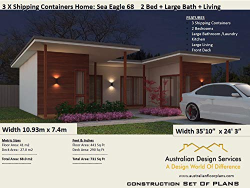 2 Bed Shipping Container Home Australian And Usa Concept Plans Blueprints For Sale Full Architectural Concept Home Plans Includes Detailed Floor Plans Ship Container Homes Book 68