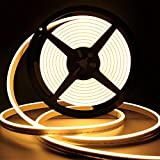 Lamomo LED Neon Lights, 12V Warm White Dimmable LED Strip Lights, 16.4ft/5m Waterproof LED Neon Flex, Silicone 3000K Neon LED Strip for Indoor Outdoor Home Decor (Include Power Adapter&Dimmer)