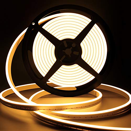 Dimmable LED Strip Lights, 16.4ft/5m Neon Rope Lights Outdoor, 3000K Warm White LED Strip Lights, Silicone 12V Flexible Neon Light Rope Waterproof for Indoor Outdoor Home Decoration