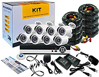 Tomvision CCTV 8 Channel Camera Kit with Night Vision and P2P (8 x 1.3MP/960P AHD Metal Outdoor Camera + DVR)