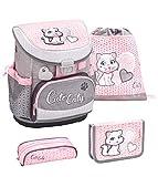 Belmil ergonomischer Schulranzen Set 4 -teilig für Mädchen 1, 2 Klasse Grundschule/Super Leicht 750-800 g/Brustgurt/Katze, Cat/Grau, Grey, Pink, Rosa (405-33 Cute Caty)
