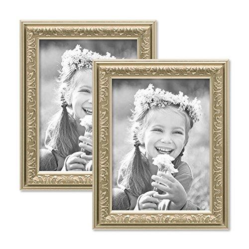 PHOTOLINI 2er Set Bilderrahmen Antik Silber Nostalgie 15x20 cm Fotorahmen mit Glasscheibe/Kunststoff-Rahmen