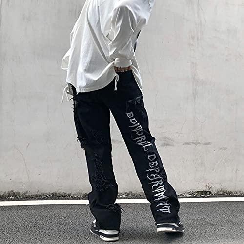 xiaozhou Hombre Crudo de High Street Romed Jeans Hombre Black Hip-Hop Baggy Jeans Flow Bordado Pantalones Hombres Denim Pantalones de Denim Ropa Streetwear