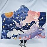 ZHEYANG Batamanta con Capucha Manta Sofa Manta de Tiro de Franela de Microfibra con Estampado de Sirena de Estrellas Manta de Lana cálida Suave y esponjosa Model:G01509(Size:130x150cm)
