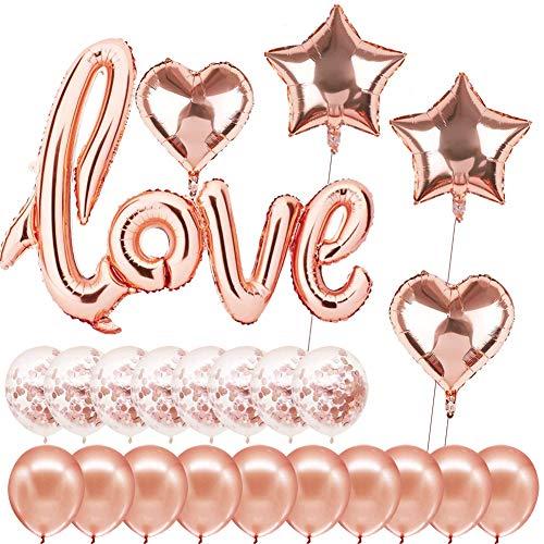 Sunshine smile Love Ballon Rosegold, Muttertag Deko, Roségold Luftballon Hochzeit, Herzluftballons Set, Luftballons für Valentinstag Hochzeit Brautdusche