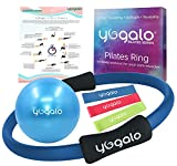 Pilates Ring and Ball Set with 3 Resistance Bands - Pilates Equipment for Home Workout - Magic Circle Pilates Ring 14 Inch to Tone, Sculpt and Strengthen - Fitness Ring for Yoga and Pilates (Blue)