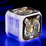 HHIAK666 Animal World Tiger 7 Color Ing-Change Reloj De Alarma Creativo, Led Alarma Electrónica De Regalo 8