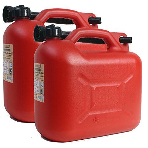 2er Set: 2x Benzinkanister KKR 10 PE 10 Liter rot mit UN Zulassung