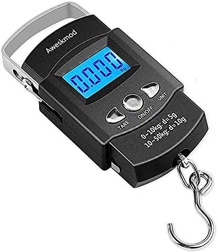 Pèse Bagage Électroniques ,LCD Digital Balance de Pêche électronique Portable Pèse Valise Digital Peson de Voyage(Max: 50 kg) avec Crochet + Ruban à Mesurer (100 cm / 39 Pouces)
