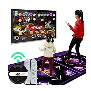 Dance Mat for Kids and Adults for Home - Sinifer Wireless Dance Mat Game TV Non-Slip + 2 Remote Controller Wireless Double/ Single User Dancer Step Pads Sense Game English Non-Slip Yoga Game Blanket